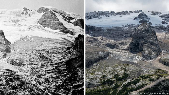 Marmolada glečer - Fotografije Franza Datonea 1880. (lijevo) i Fabiana Venture 2020. (desno)