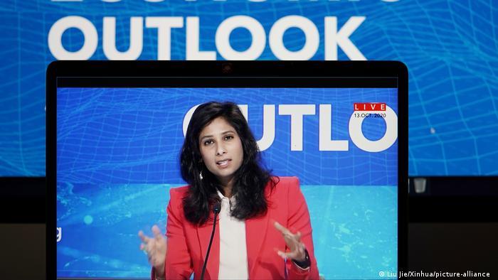 IMF chief economist Gita Gopinath speaks at a virtual press briefing in October, 2020
