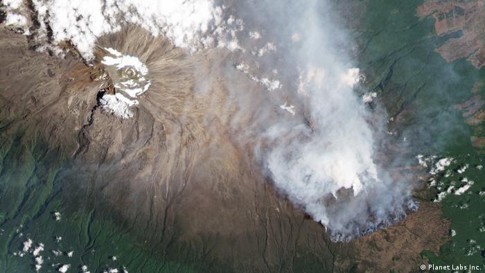 Satellitenbild Feuer auf Kilimandscharo, Tansania (Planet Labs Inc.)