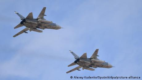 Two Russian Sukhoi Su-25 jets flying