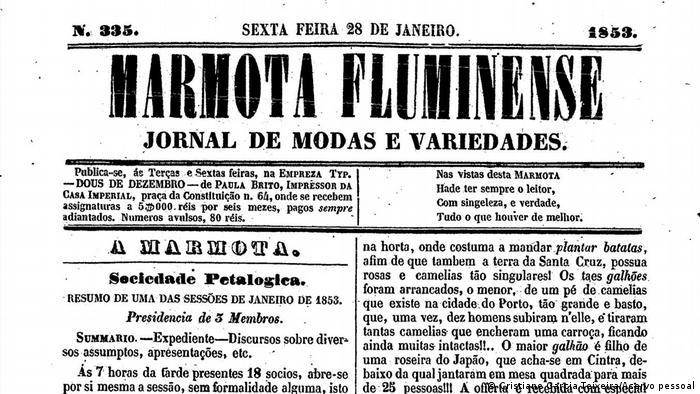 Página do jornal Marmota Fluminense de 28 de janeiro de 1853
