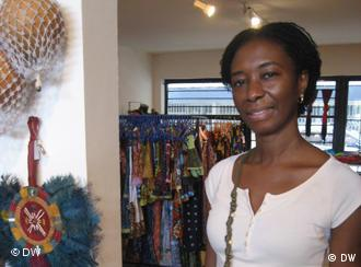 Author Sefi Atta in a shop