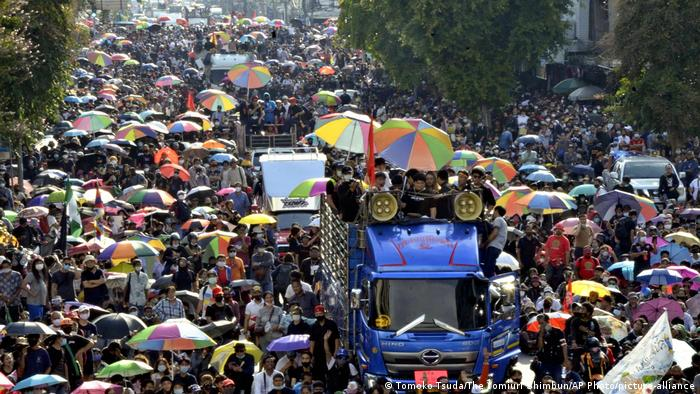 Protesters demanding the resignation of the Prayuth Chan-o-cha administration in Bangkok, Thailand