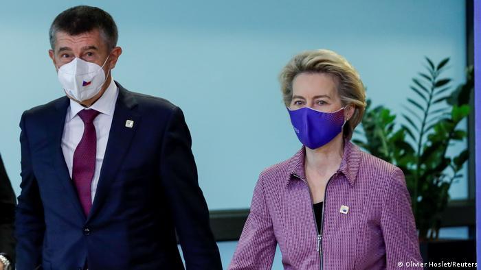 EU chief Ursula von der Leyen and Czech Prime Minister Andrej Babis