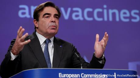 EU Commissioner Margaritis Schinas at a press conference on COVID-19 vaccine strategy