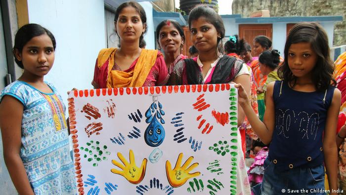 Hand washing competition in India