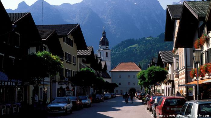 Main street through a village in Austria