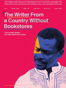 Poster for the documentary film The writer from a country without bookshops featuring a man with a mustache wearing a white shirt
