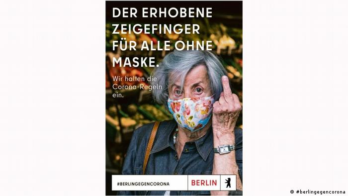 Berlin ad campaign showing an elderly lady giving the middle finger
