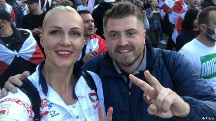 Гандболист Константин Яковлев и баскетболистка Елена Левченко на одной из акций протеста