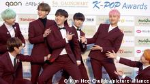 Boy band BTS, pictured at a South Korean music awards ceremony.
