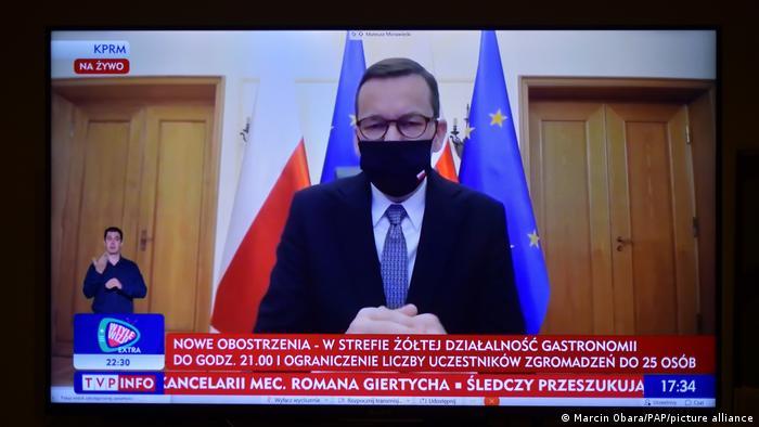 Прем'єр-міністр Польщі Матеуш Моравецький під час телезвернення до поляків 15 жовтня