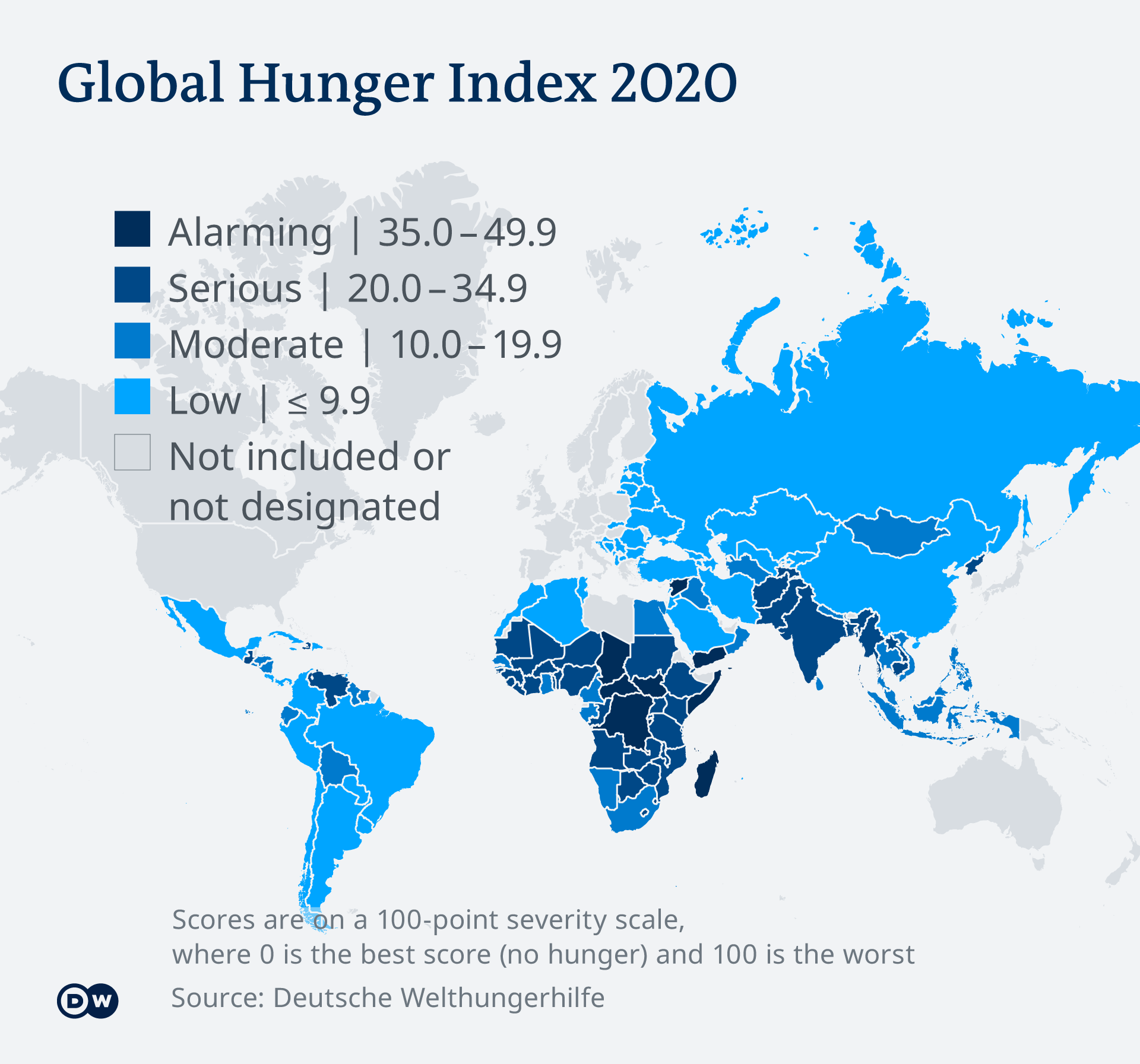 Infographic showing the Global Hunger Index for 2020