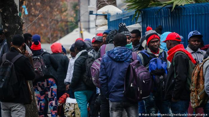 Migrantes haitiano en Santiago de Chile.