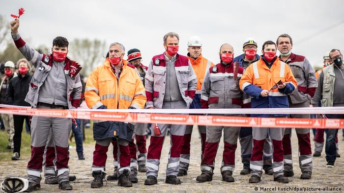Thyssenkrupp steel workers protest in Düsseldorf on October 16, 2020. The IG Metall trade union is calling on the state to step in as efforts to sell off Thyssenkrupp's steel operations falter.