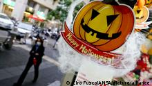 A shop sells items for Halloween, in Naples, southern Italy, 16 October 2020. Campania Governor Vincenzo De Luca on Friday said he would impose a 22:00 COVID curfew on bars, restaurants and night spots on Halloween weekend. De Luca, who has spurred controversy by closing the southern region's schools amid a COVID spike, also said that anyone not using a mask outdoors was to be considered a criminal. He called Halloween an American stunt that is a monument to imbecility. ANSA/ CIRO FUSCO  