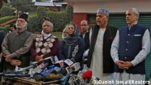 (L-R) Muzaffar Shah, leader of Awami National Conference, Mohammed Yousuf Tarigami, leader of Communist Party of India (Marxist), Mehbooba Mufti, former chief minister of Jammu and Kashmir and President of Peoples Democratic Party, Farooq Abdullah and his son Omar Abdullah, both leaders of National Conference and former state chief ministers, address the media after their meeting in Srinagar, October 15, 2020. REUTERS/Danish Ismail