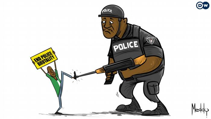 Cartoon showing a protester holding a banner that reads 'End police brutality'