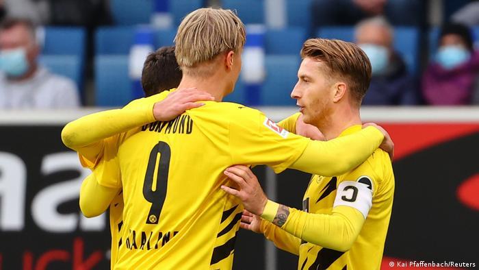 Erling Haaland celebrating with Marco Reus during Dortmund's 1-0 win over Hoffenheim