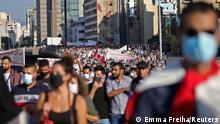 من مظاهرة في الذكرى السنوية للحراك ضد السلطة في لبنان ـ أكتوبر 2020)