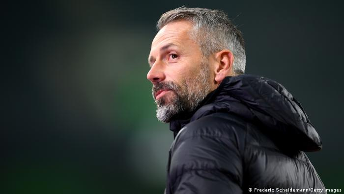 Marco Rose during a Gladbach home game in October 2020.