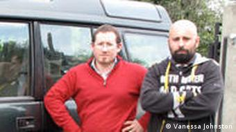 Luca Cocchi and Filipo Muccini in front of INGV company vehicle