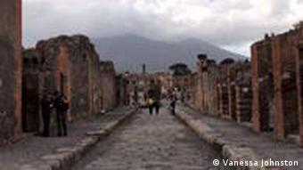 Pompeii with Mount Vesuvius in the background