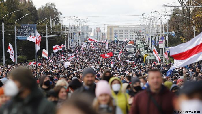 Протестувальники в Мінську, 18 жовтня