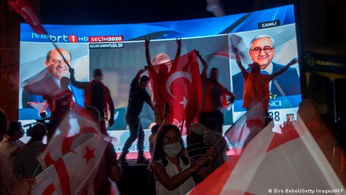 Türkische Republik Nordzypern | Anhänger von Ersin Tatar feiern