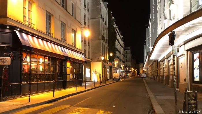 An empty street at night in Paris
