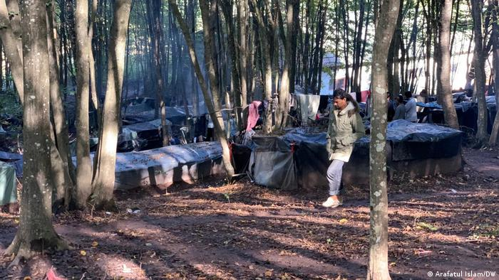Makeshift tents in the woods near the Croatian border