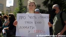 Учасниця акції протесту на захист книжки про Стуса. Київ, 10 липня 2020 року