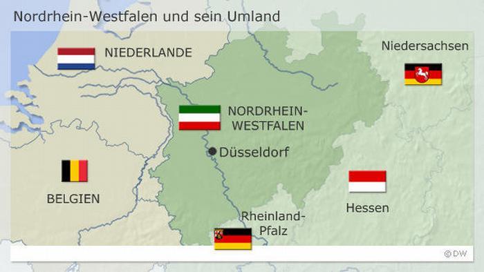 در ایالت «نورد راین وستفالن با مرکزیت دوسلدورف واقع در غرب آلمان ۱۲ میلیون و ۸۰۰ هزار نفر واجد شرایط رای دادن هستند که پر رایترین ایالت آلمان محسوب میشود. ایالت بایرن با ۹ میلیون و ۴۰۰ هزار نفر در رتبه دوم قرار دارد.