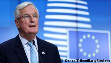 Michel Barnier stands in front of a blue screen with the EU flag on it