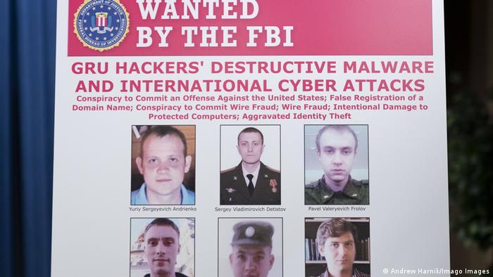 Постер ФБР про російських співробітників розвідки ГРУ, які розшукуються через кібератаки на США