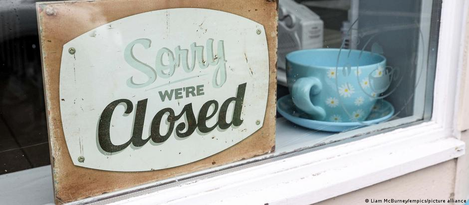 A closed sign in a shop in Ballycastle, County Antrim, Ireland