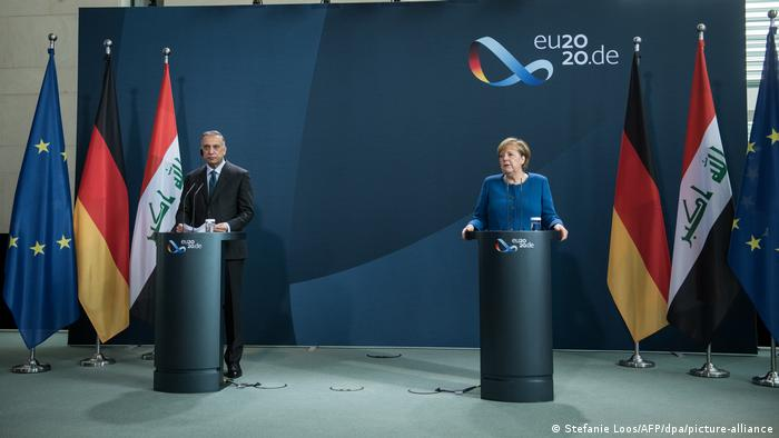 Prime Minister Mustafa al-Kadhimi and German Chancellor Angela Merkel in a press conference