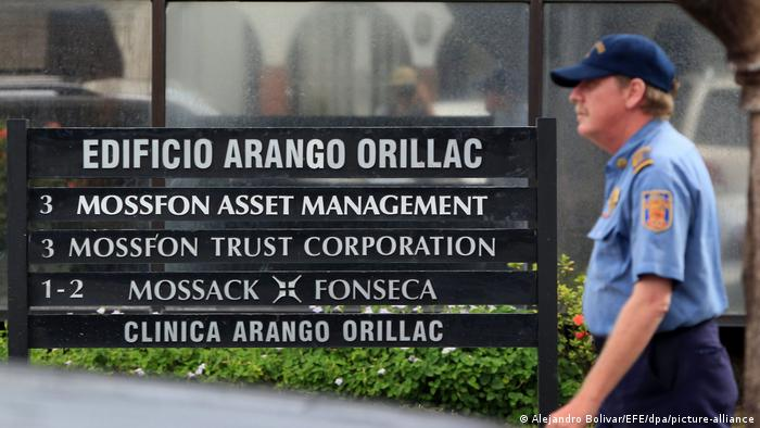 A sign for the firm Mossack Fonseca
