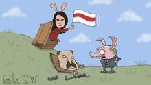 Karikatur von Sergey Elkin - Lukaschenkos schweres Dilemma
