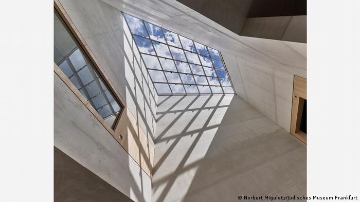 Light floods through the skylight of the atrium of the new museum