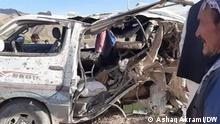 Afghanistan | Autowrack nach der Explosion in Provinz Wardak (Ashaq Akrami/DW)