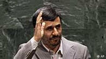 Iran's President Mahmoud Ahmadinejad waves after his address to the Nuclear Nonproliferation Treaty (NPT) conference at United Nations headquarters, Monday, May 3, 2010. (AP Photo/Richard Drew)