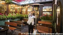 Уличные обогреватели в кафе Франкфурта-на-Майне