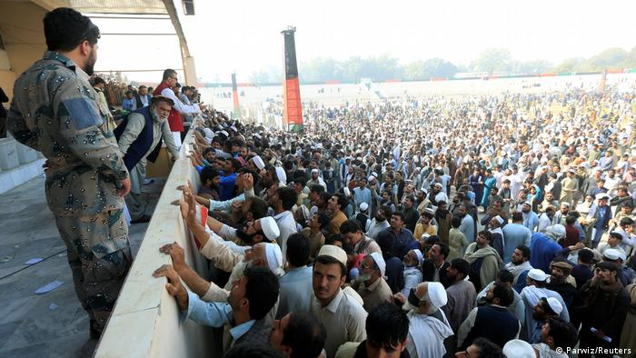 Crowd waiting for visa tokens in Jalalabad