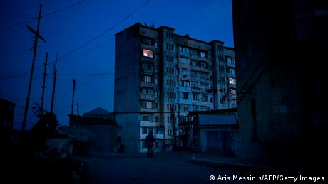 Night view of empty street corner in Stepanakert (Aris Messinis/AFP/Getty Images)