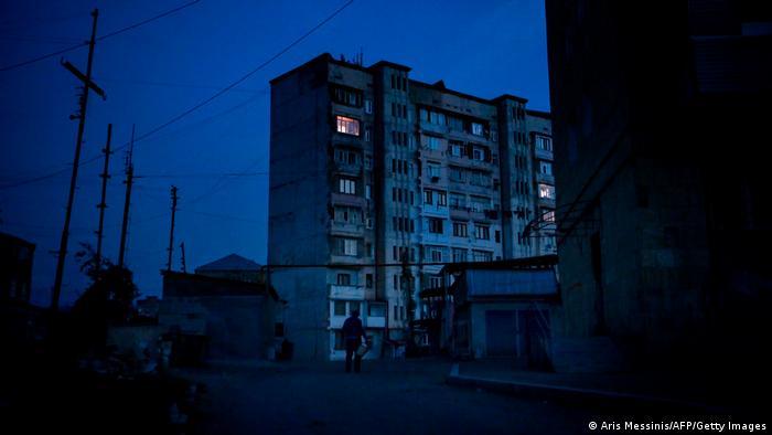 Night view of empty street corner in Stepanakert
