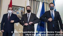 Soldan sağa: Mısır Cumhurbaşkanı Sisi, AB'ye üye Kıbrıs Cumhuriyeti'nin Cumhurbaşkanı Anastasiadis ev Yunanistan Başbakanı Mitsotakis