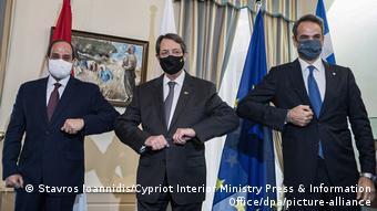 Στιγμιότυπο από την τριμερή σύνοδο Ελλάδας-Κύπρου-Αιγύπτου