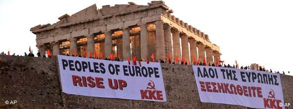 Greek protestors at Acropolis
