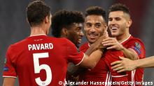MUNICH, GERMANY - OCTOBER 21: Corentin Tolisso of Bayern Munich celebrates with teammates after scoring his team's third goal during the UEFA Champions League Group A stage match between FC Bayern Muenchen and Atletico Madrid at Allianz Arena on October 21, 2020 in Munich, Germany. The game will be played behind closed doors as a COVID-19 precaution. (Photo by Alexander Hassenstein/Getty Images)